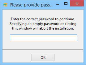 Prompt for providing password